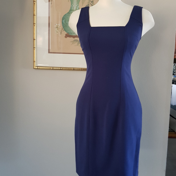 NWT MARC NEW YORK by ANDREW MARC Chiffon Halter Fit /& Flare Blue Dress Size 6